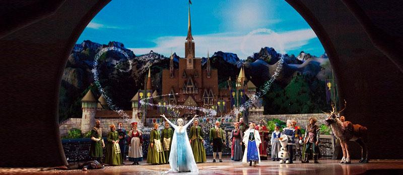 Відео проекції у театралізованій виставі «Холодне сердце» у Каліфорнійському  Діснеївському парку пригод